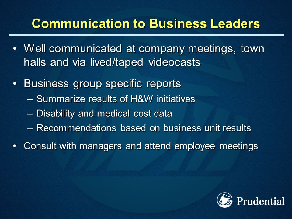 Communication to Business Leaders Well communicated at company meetings, town halls and via lived/taped videocastsWell communicated at company meetings, town halls and via lived/taped videocasts Business group specific reportsBusiness group specific reports –Summarize results of H&W initiatives –Disability and medical cost data –Recommendations based on business unit results Consult with managers and attend employee meetingsConsult with managers and attend employee meetings