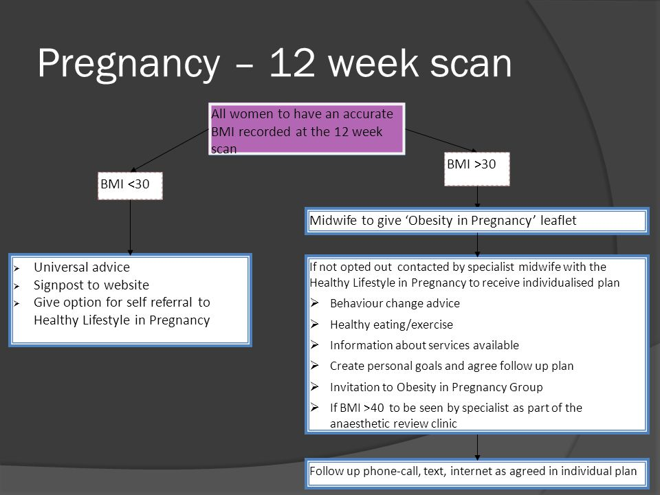 Pregnancy – 12 week scan All women to have an accurate BMI recorded at the 12 week scan BMI <30 Universal advice Signpost to website Give option for self referral to Healthy Lifestyle in Pregnancy Midwife to give Obesity in Pregnancy leaflet Follow up phone-call, text, internet as agreed in individual plan If not opted out contacted by specialist midwife with the Healthy Lifestyle in Pregnancy to receive individualised plan Behaviour change advice Healthy eating/exercise Information about services available Create personal goals and agree follow up plan Invitation to Obesity in Pregnancy Group If BMI >40 to be seen by specialist as part of the anaesthetic review clinic BMI >30