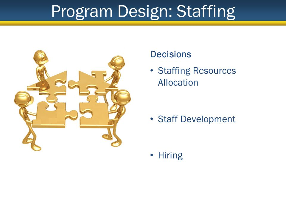 Program Design: Staffing Decisions Staffing Resources Allocation Staff Development Hiring