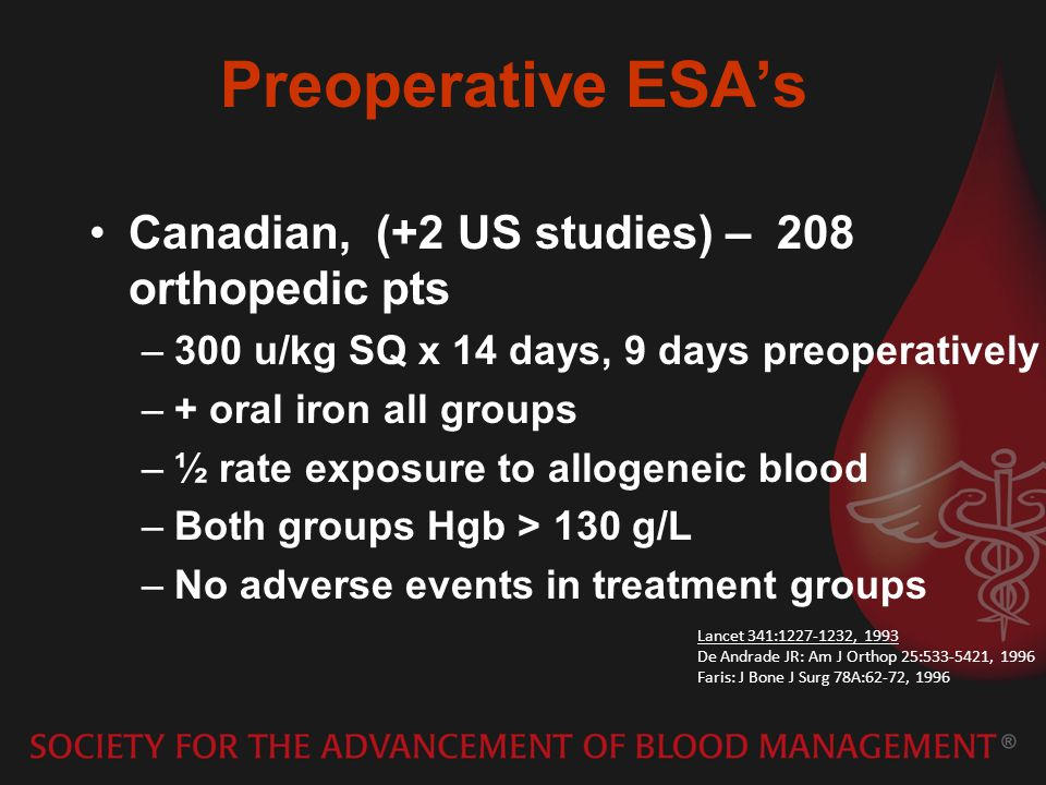 Preoperative ESAs Canadian, (+2 US studies) – 208 orthopedic pts –300 u/kg SQ x 14 days, 9 days preoperatively –+ oral iron all groups –½ rate exposure to allogeneic blood –Both groups Hgb > 130 g/L –No adverse events in treatment groups Lancet 341:1227-1232, 1993 De Andrade JR: Am J Orthop 25:533-5421, 1996 Faris: J Bone J Surg 78A:62-72, 1996