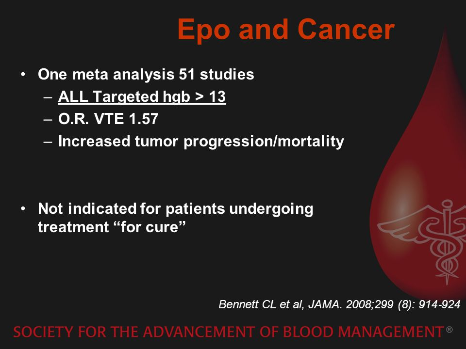 Epo and Cancer One meta analysis 51 studies –ALL Targeted hgb > 13 –O.R.