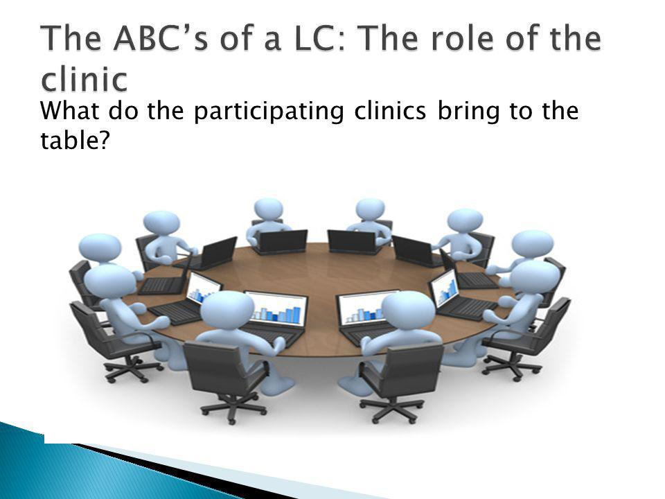 What do the participating clinics bring to the table