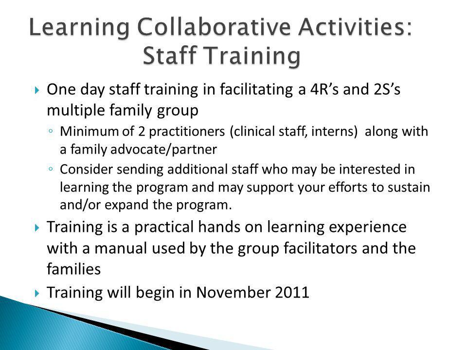 One day staff training in facilitating a 4Rs and 2Ss multiple family group Minimum of 2 practitioners (clinical staff, interns) along with a family advocate/partner Consider sending additional staff who may be interested in learning the program and may support your efforts to sustain and/or expand the program.