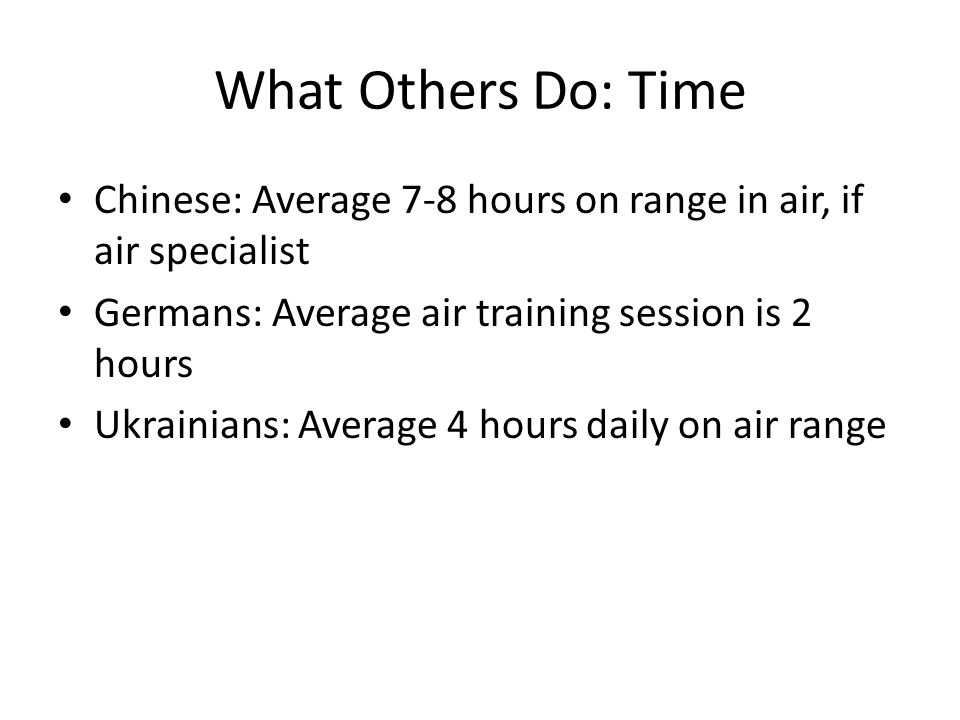 What Others Do: Time Chinese: Average 7-8 hours on range in air, if air specialist Germans: Average air training session is 2 hours Ukrainians: Average 4 hours daily on air range