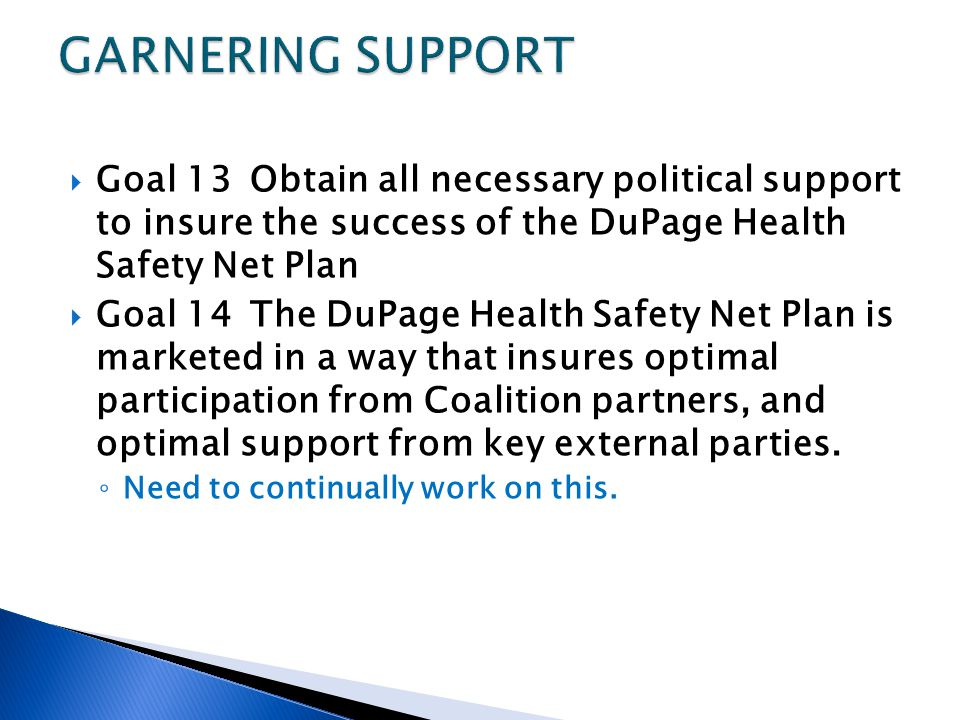 Goal 13Obtain all necessary political support to insure the success of the DuPage Health Safety Net Plan Goal 14The DuPage Health Safety Net Plan is m