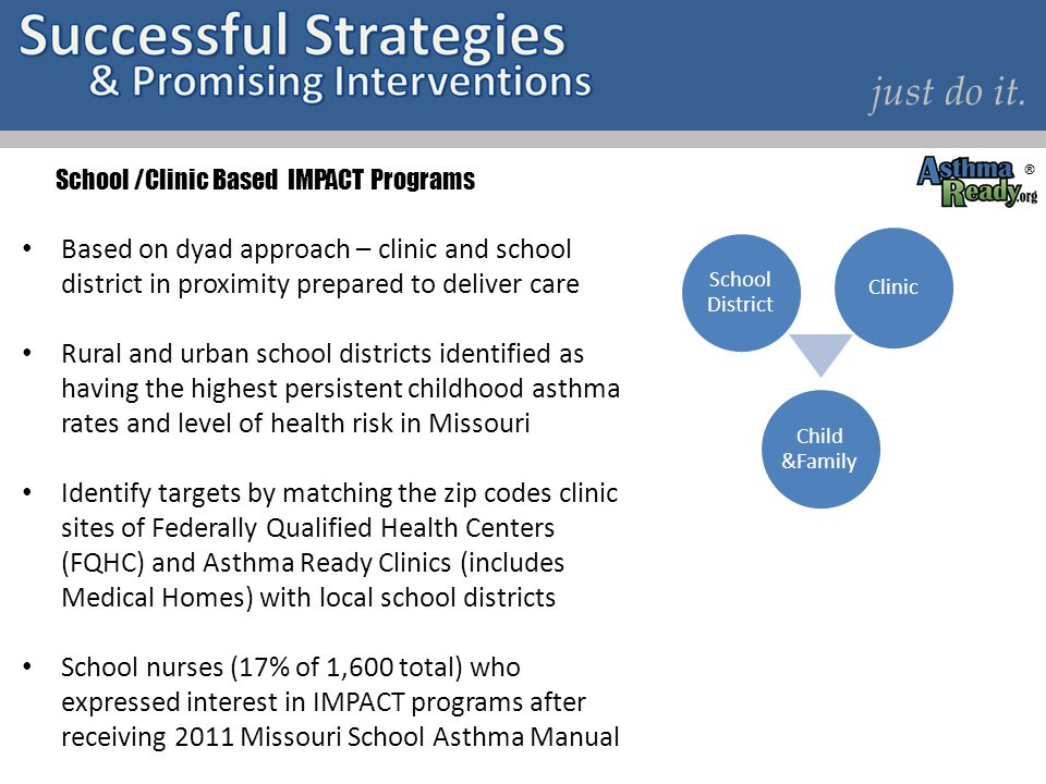 Based on dyad approach – clinic and school district in proximity prepared to deliver care Rural and urban school districts identified as having the hi