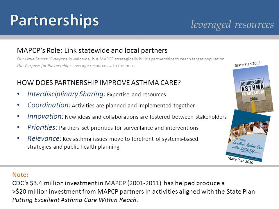 leveraged resources MAPCPs Role: Link statewide and local partners Our Little Secret : Everyone is welcome, but MAPCP strategically builds partnership