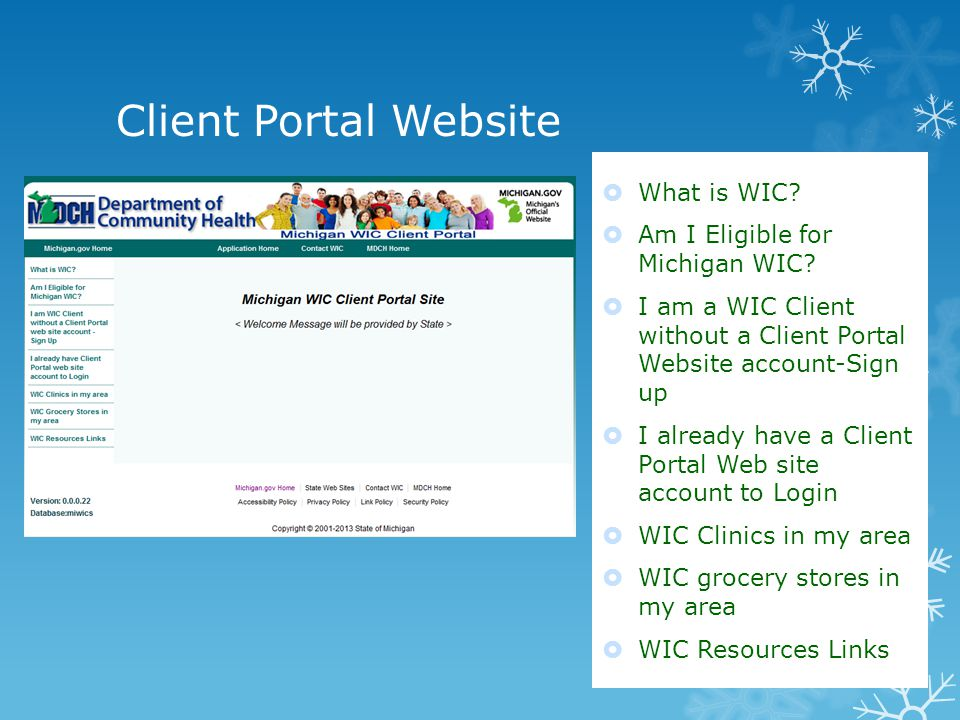 Client Portal Website What is WIC. Am I Eligible for Michigan WIC.