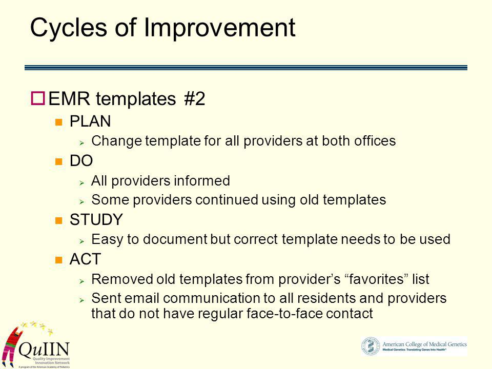 Cycles of Improvement EMR templates #2 PLAN Change template for all providers at both offices DO All providers informed Some providers continued using old templates STUDY Easy to document but correct template needs to be used ACT Removed old templates from providers favorites list Sent email communication to all residents and providers that do not have regular face-to-face contact