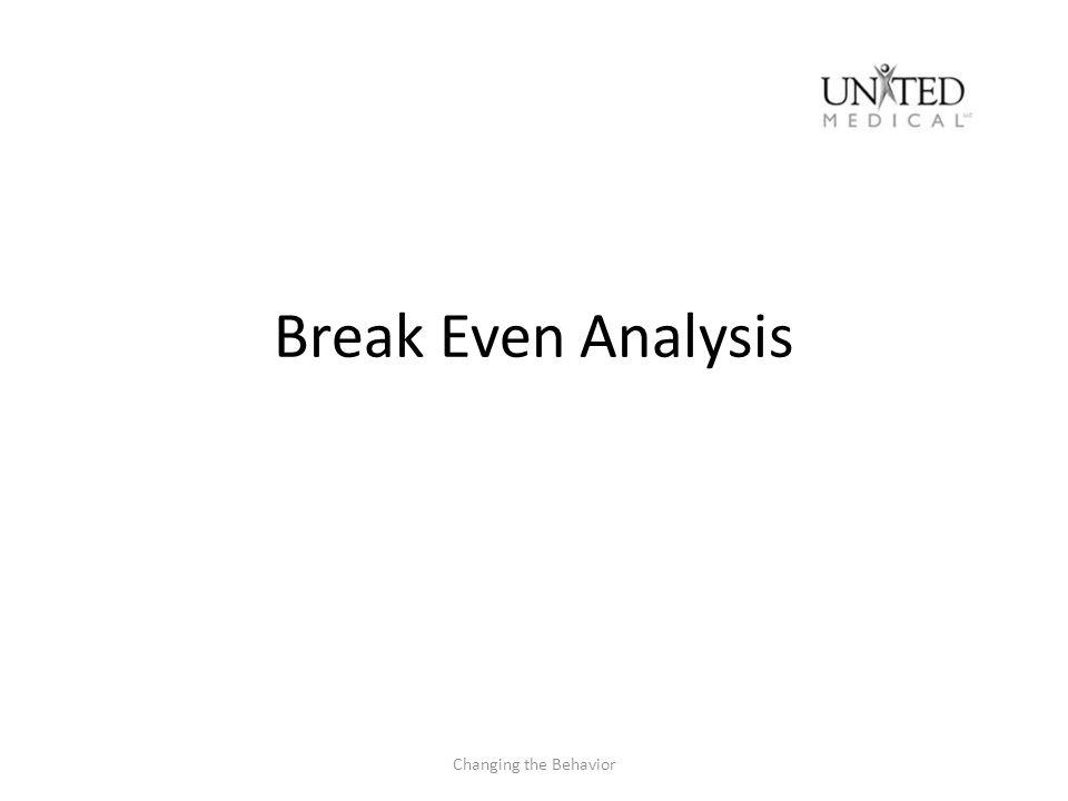 Break Even Analysis Changing the Behavior