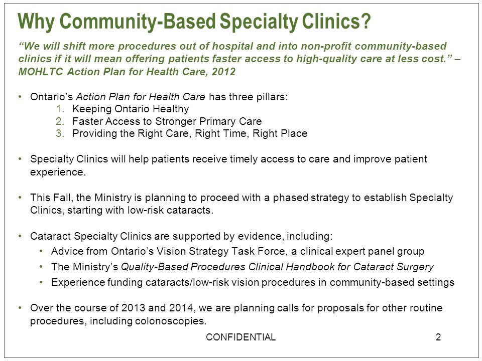 Why Community-Based Specialty Clinics.
