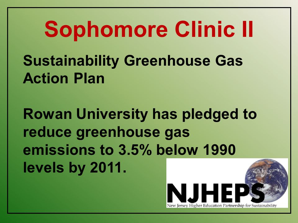 Sophomore Clinic II Sustainability Greenhouse Gas Action Plan Rowan University has pledged to reduce greenhouse gas emissions to 3.5% below 1990 levels by 2011.