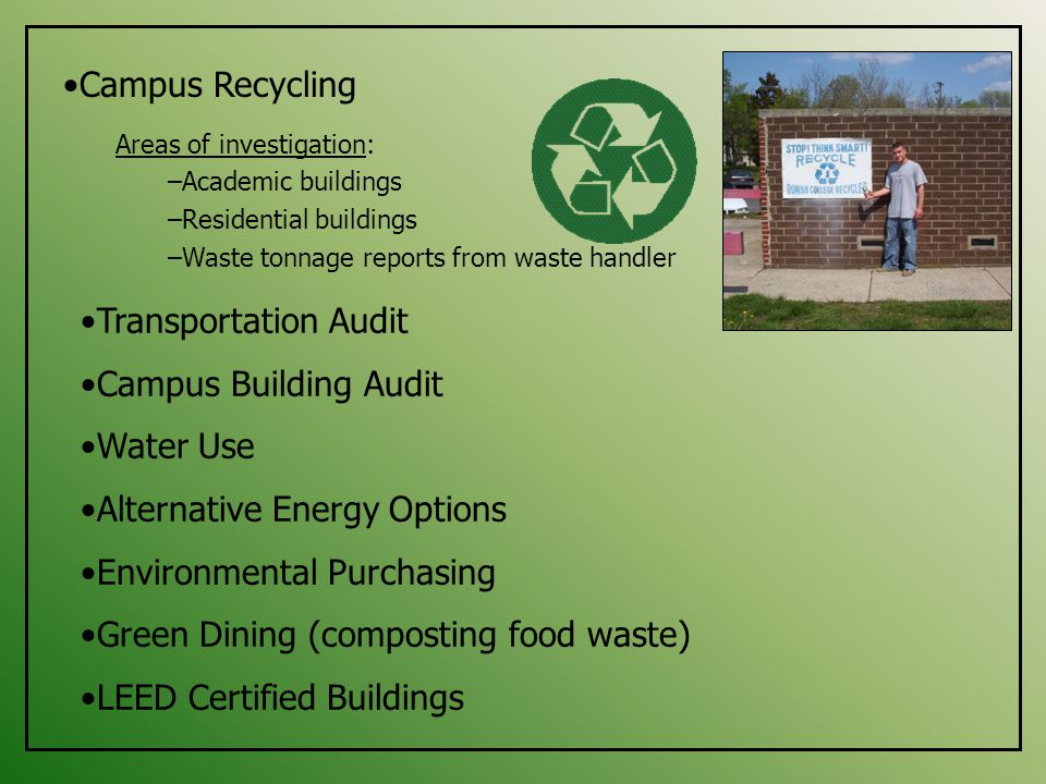 Campus Recycling Areas of investigation: –Academic buildings –Residential buildings –Waste tonnage reports from waste handler Transportation Audit Campus Building Audit Water Use Alternative Energy Options Environmental Purchasing Green Dining (composting food waste) LEED Certified Buildings