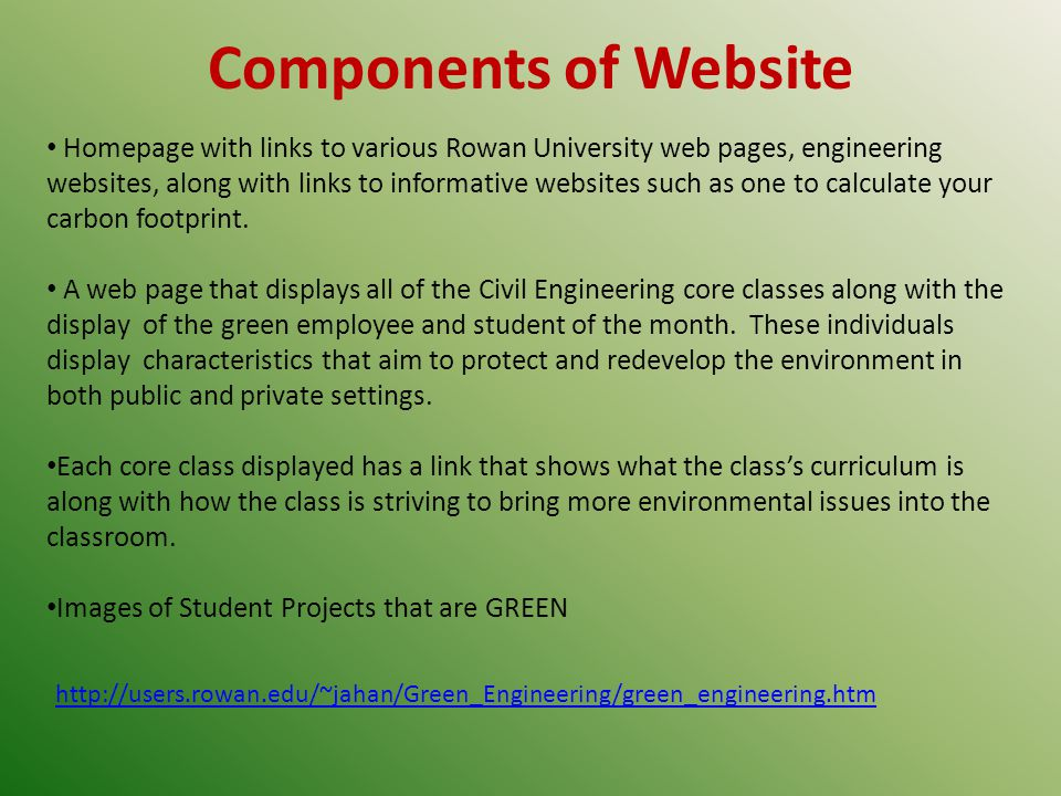 Homepage with links to various Rowan University web pages, engineering websites, along with links to informative websites such as one to calculate your carbon footprint.