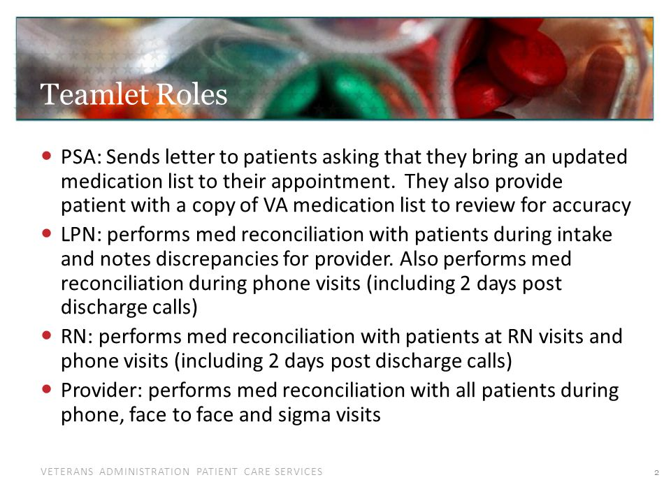 VETERANS ADMINISTRATION PATIENT CARE SERVICES Teamlet Roles PSA: Sends letter to patients asking that they bring an updated medication list to their a