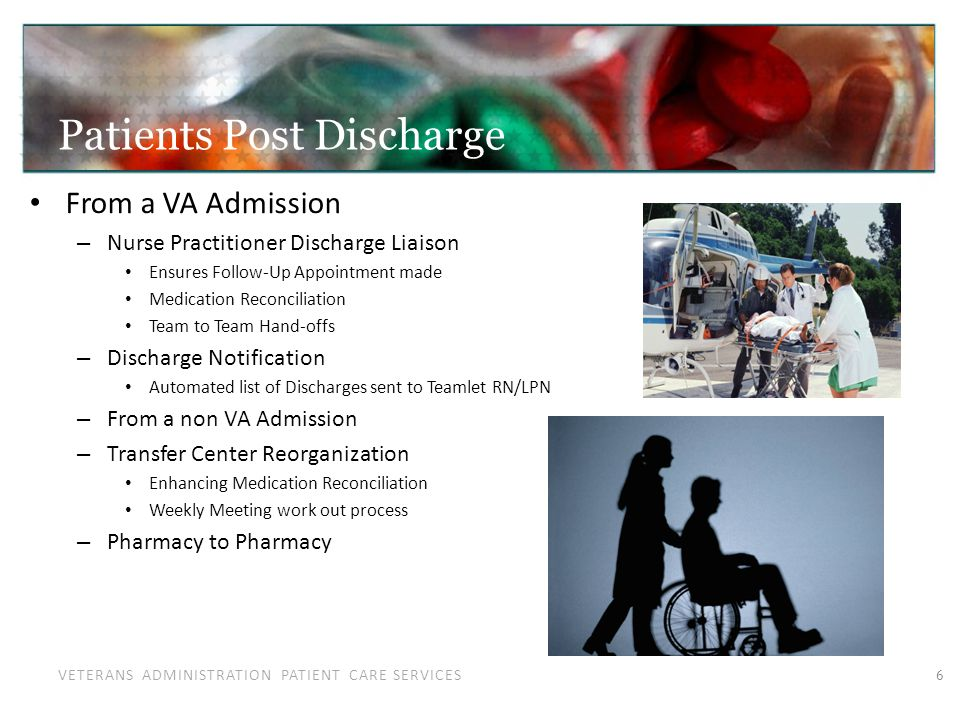VETERANS ADMINISTRATION PATIENT CARE SERVICES Patients going in between PC and Specialty: New Frontiers Between Primary Care to Specialty Care – A challenge – Many joint projects with Specialty Care Specialty imbedded in Primary Care – Audiology, Cardiology, Ophthalmology Tele-Derm – Education from Specialists for Primary Care – COPD Program Prevention Multi-disciplinary Entire Continuum of Care 7