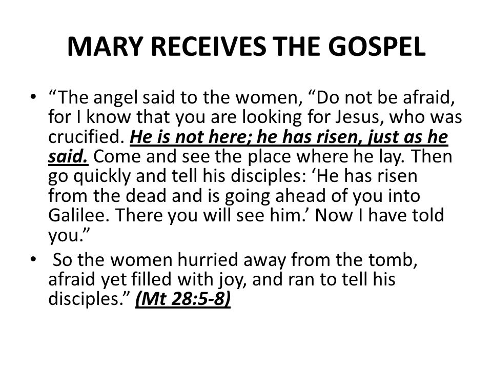 MARY RECEIVES THE GOSPEL The angel said to the women, Do not be afraid, for I know that you are looking for Jesus, who was crucified.
