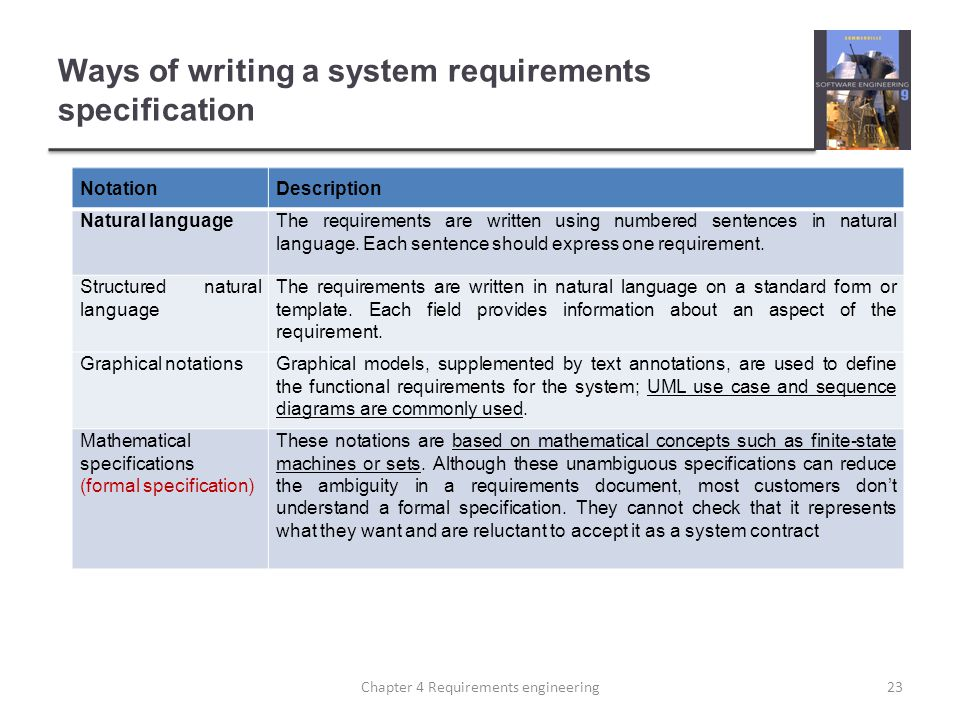 Ways of writing a system requirements specification NotationDescription Natural languageThe requirements are written using numbered sentences in natural language.