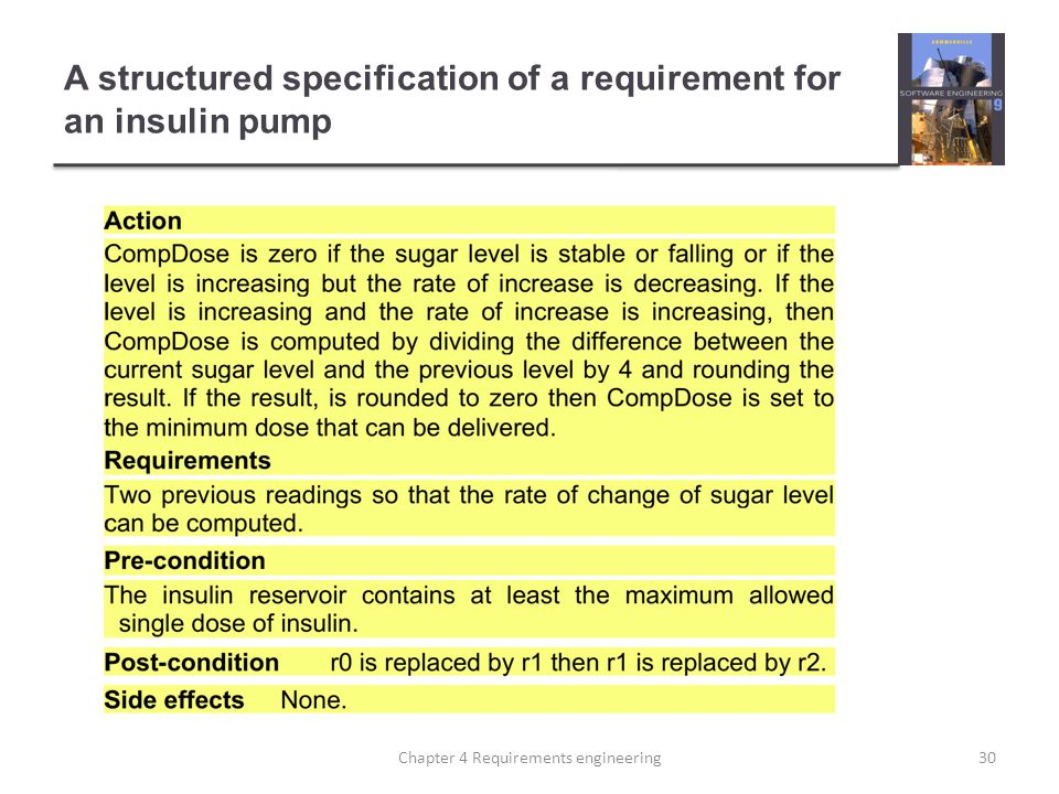 A structured specification of a requirement for an insulin pump 30Chapter 4 Requirements engineering
