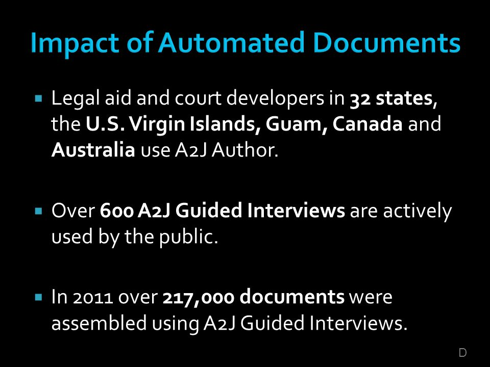 Legal aid and court developers in 32 states, the U.S. Virgin Islands, Guam, Canada and Australia use A2J Author. Over 600 A2J Guided Interviews are ac