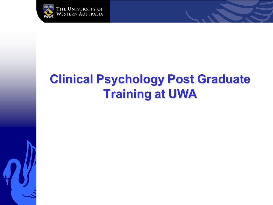 Clinical Psychology Post Graduate Training at UWA