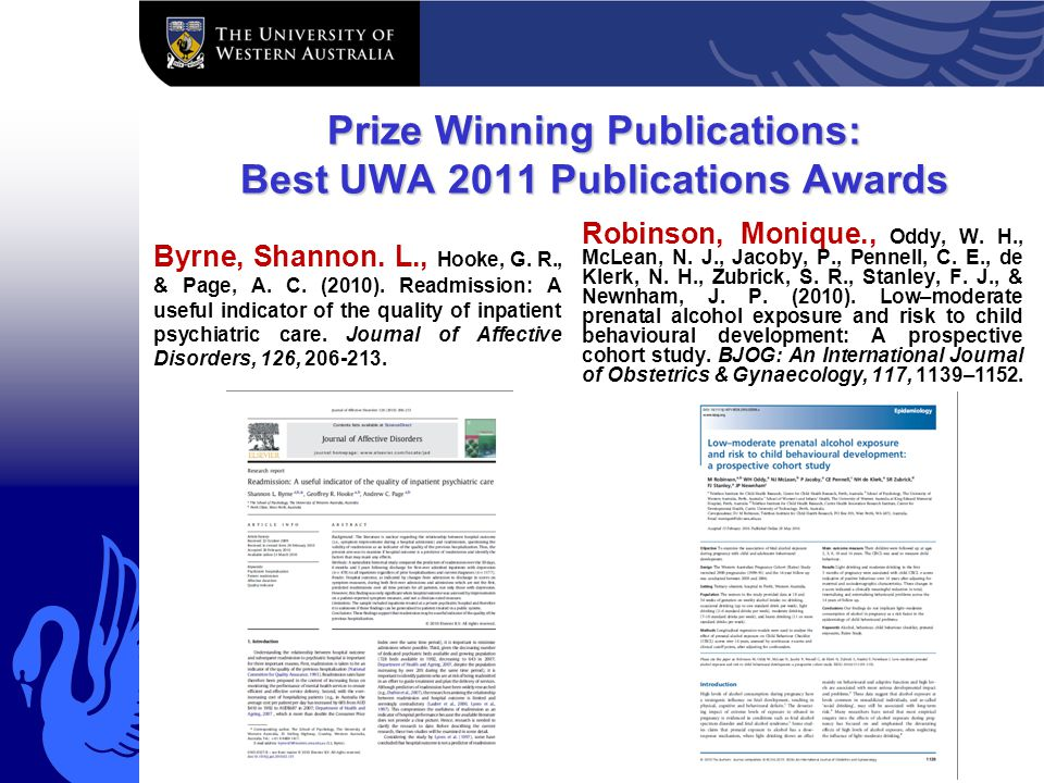 Prize Winning Publications: Best UWA 2011 Publications Awards Byrne, Shannon.