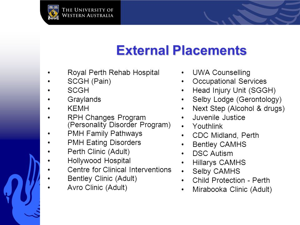 External Placements Royal Perth Rehab Hospital SCGH (Pain) SCGH Graylands KEMH RPH Changes Program (Personality Disorder Program) PMH Family Pathways PMH Eating Disorders Perth Clinic (Adult) Hollywood Hospital Centre for Clinical Interventions Bentley Clinic (Adult) Avro Clinic (Adult) UWA Counselling Occupational Services Head Injury Unit (SGGH) Selby Lodge (Gerontology) Next Step (Alcohol & drugs) Juvenile Justice Youthlink CDC Midland, Perth Bentley CAMHS DSC Autism Hillarys CAMHS Selby CAMHS Child Protection - Perth Mirabooka Clinic (Adult)