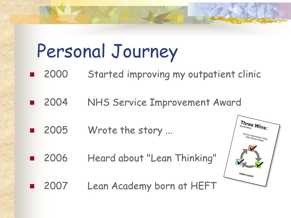 Personal Journey 2000Started improving my outpatient clinic 2004NHS Service Improvement Award 2005Wrote the story...