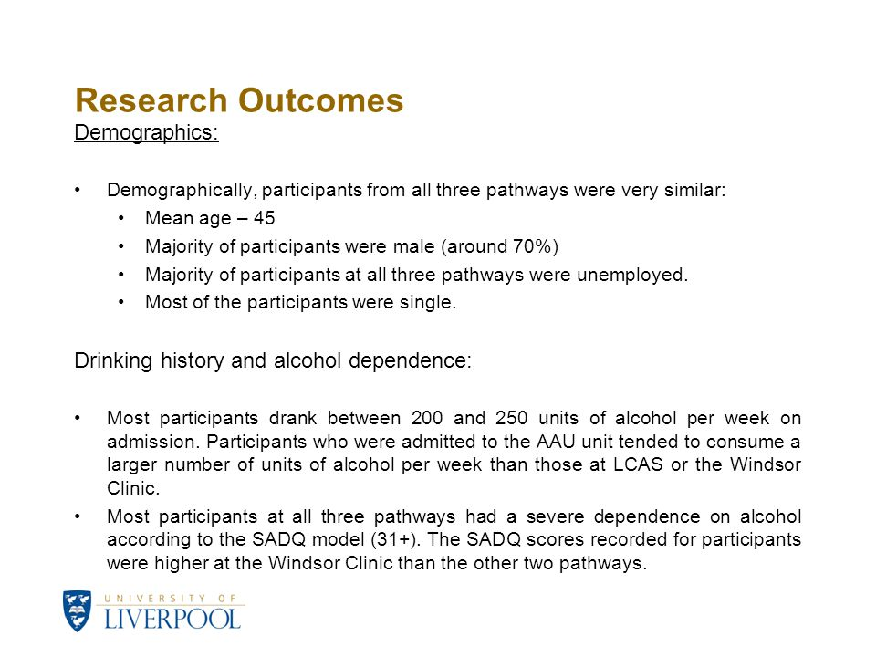 Research Outcomes Demographics: Demographically, participants from all three pathways were very similar: Mean age – 45 Majority of participants were m