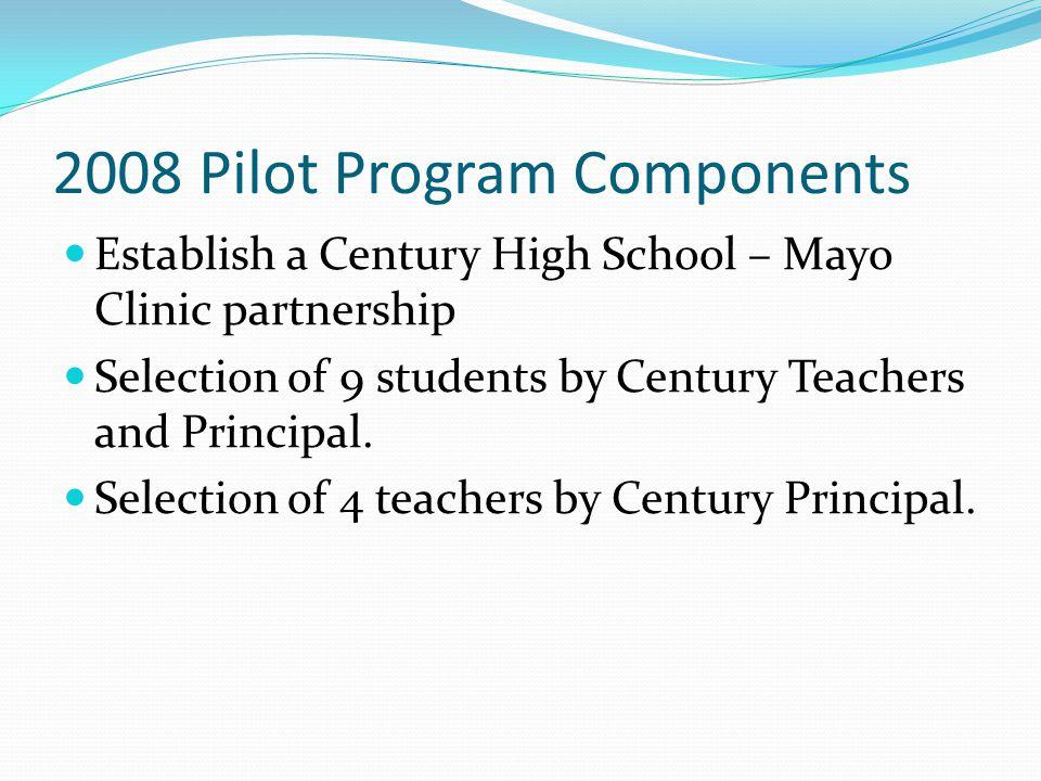 2008 Pilot Program Components Establish a Century High School – Mayo Clinic partnership Selection of 9 students by Century Teachers and Principal. Sel