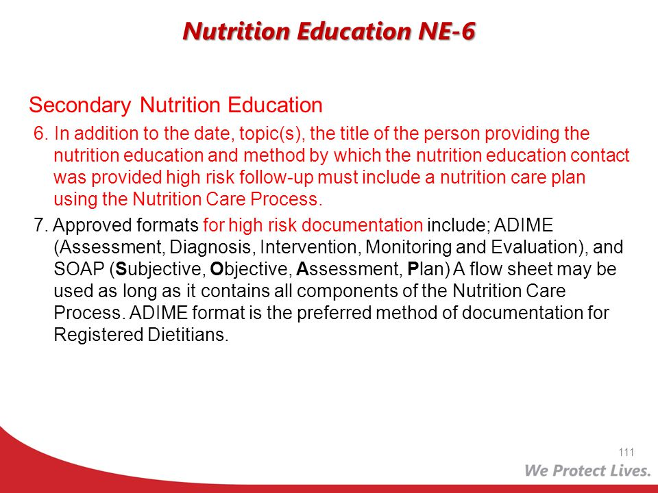 Secondary Nutrition Education 6. In addition to the date, topic(s), the title of the person providing the nutrition education and method by which the