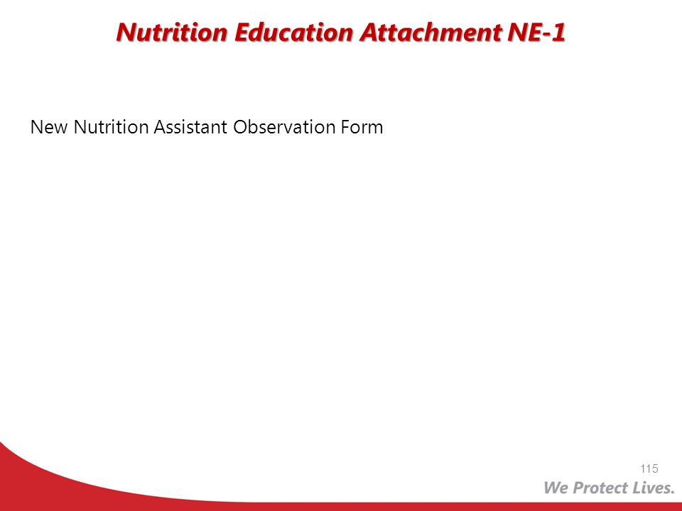 New Nutrition Assistant Observation Form Nutrition Education Attachment NE-1 115