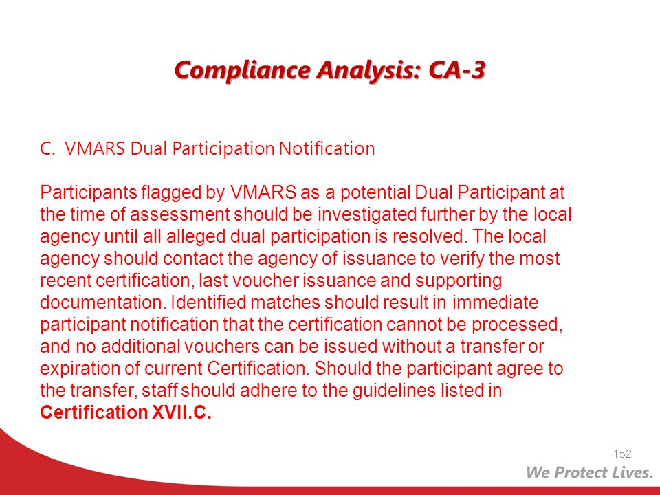 Compliance Analysis: CA-3 C.VMARS Dual Participation Notification Participants flagged by VMARS as a potential Dual Participant at the time of assessm