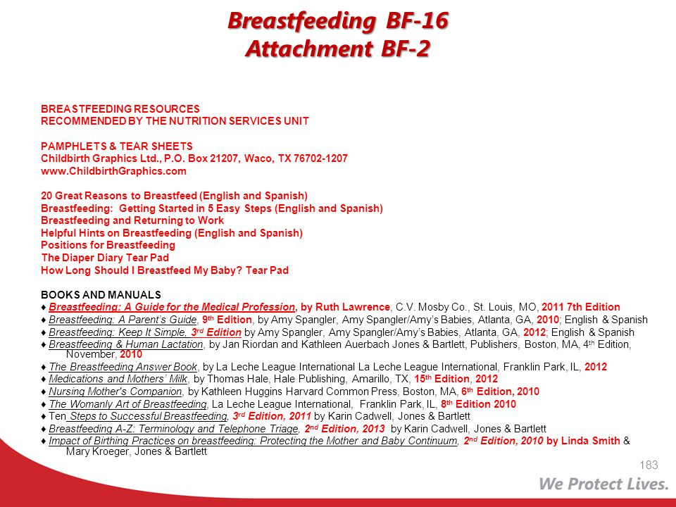 183 Breastfeeding BF-16 Attachment BF-2 BREASTFEEDING RESOURCES RECOMMENDED BY THE NUTRITION SERVICES UNIT PAMPHLETS & TEAR SHEETS Childbirth Graphics