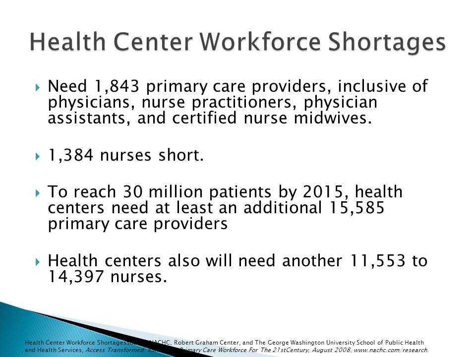 Need 1,843 primary care providers, inclusive of physicians, nurse practitioners, physician assistants, and certified nurse midwives.
