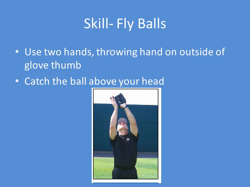 Skill- Fly Balls Use two hands, throwing hand on outside of glove thumb Catch the ball above your head