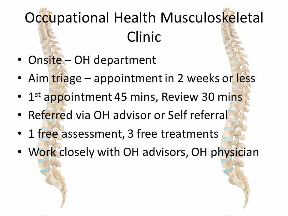 Occupational Health Musculoskeletal Clinic Onsite – OH department Aim triage – appointment in 2 weeks or less 1 st appointment 45 mins, Review 30 mins