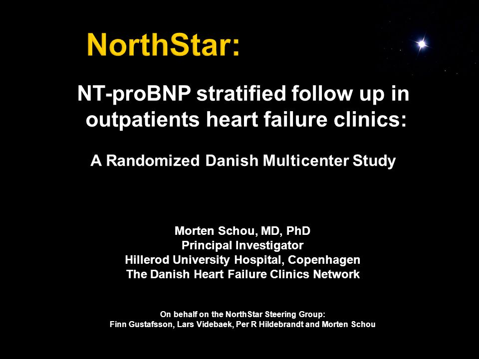 NT-proBNP stratified follow up in outpatients heart failure clinics: A Randomized Danish Multicenter Study Morten Schou, MD, PhD Principal Investigator Hillerod University Hospital, Copenhagen The Danish Heart Failure Clinics Network On behalf on the NorthStar Steering Group: Finn Gustafsson, Lars Videbaek, Per R Hildebrandt and Morten Schou