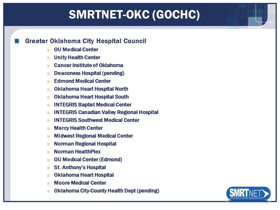 SMRTNET-OKC (GOCHC) Greater Oklahoma City Hospital Council OU Medical Center Unity Health Center Cancer Institute of Oklahoma Deaconess Hospital (pending) Edmond Medical Center Oklahoma Heart Hospital North Oklahoma Heart Hospital South INTEGRIS Baptist Medical Center INTEGRIS Canadian Valley Regional Hospital INTEGRIS Southwest Medical Center Mercy Health Center Midwest Regional Medical Center Norman Regional Hospital Norman HealthPlex OU Medical Center (Edmond) St.