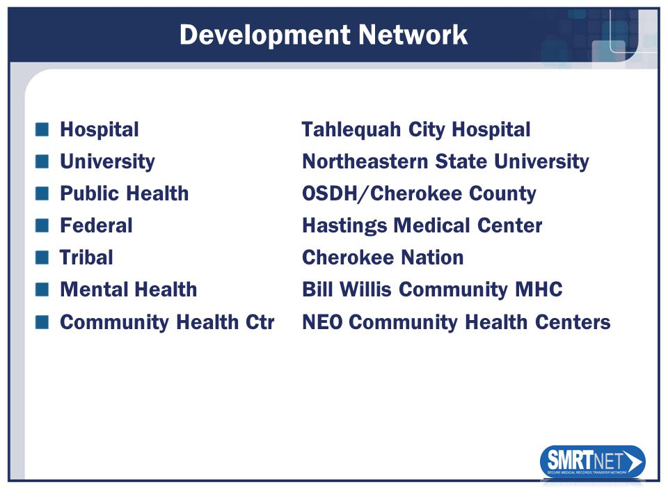 Development Network HospitalTahlequah City Hospital UniversityNortheastern State University Public HealthOSDH/Cherokee County FederalHastings Medical Center TribalCherokee Nation Mental HealthBill Willis Community MHC Community Health CtrNEO Community Health Centers