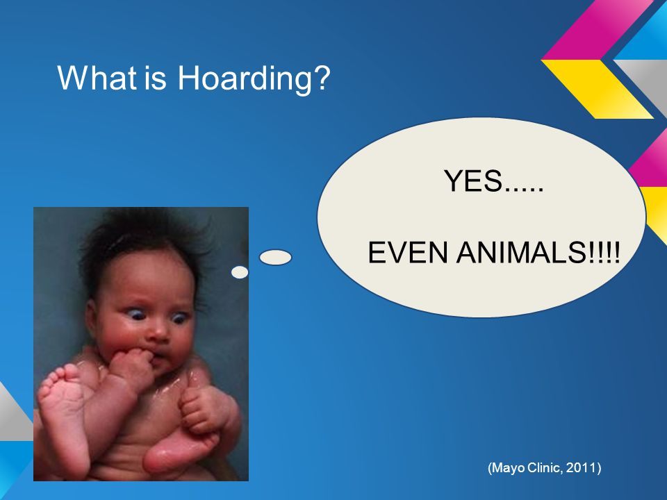 What is Hoarding? YES..... EVEN ANIMALS!!!! (Mayo Clinic, 2011)
