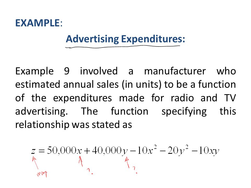 EXAMPLE: Advertising Expenditures: Example 9 involved a manufacturer who estimated annual sales (in units) to be a function of the expenditures made for radio and TV advertising.