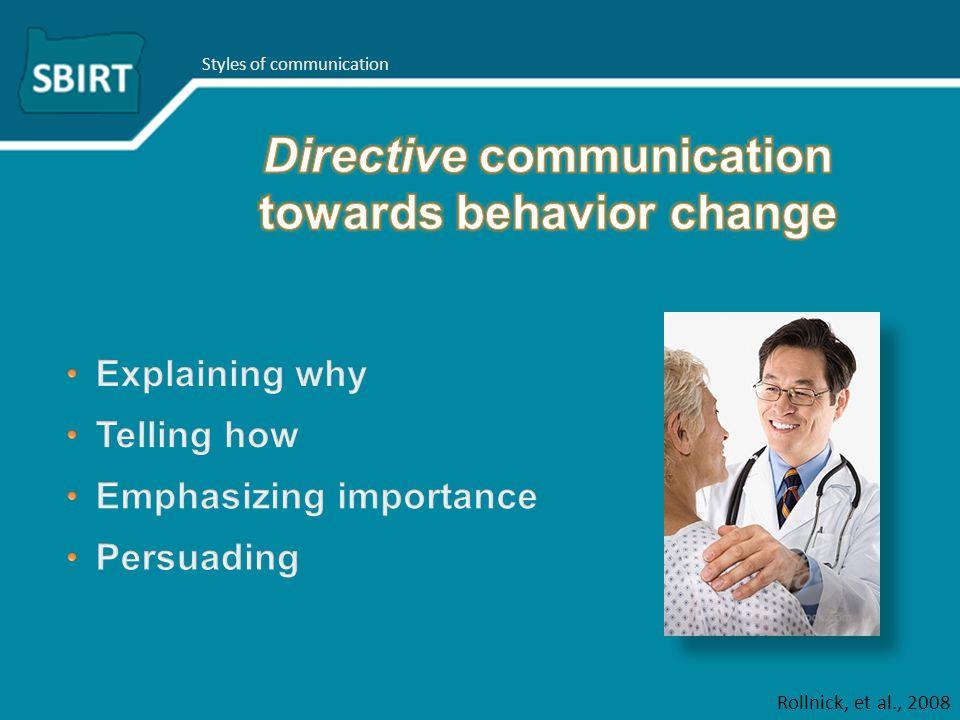 Styles of communication Rollnick, et al., 2008