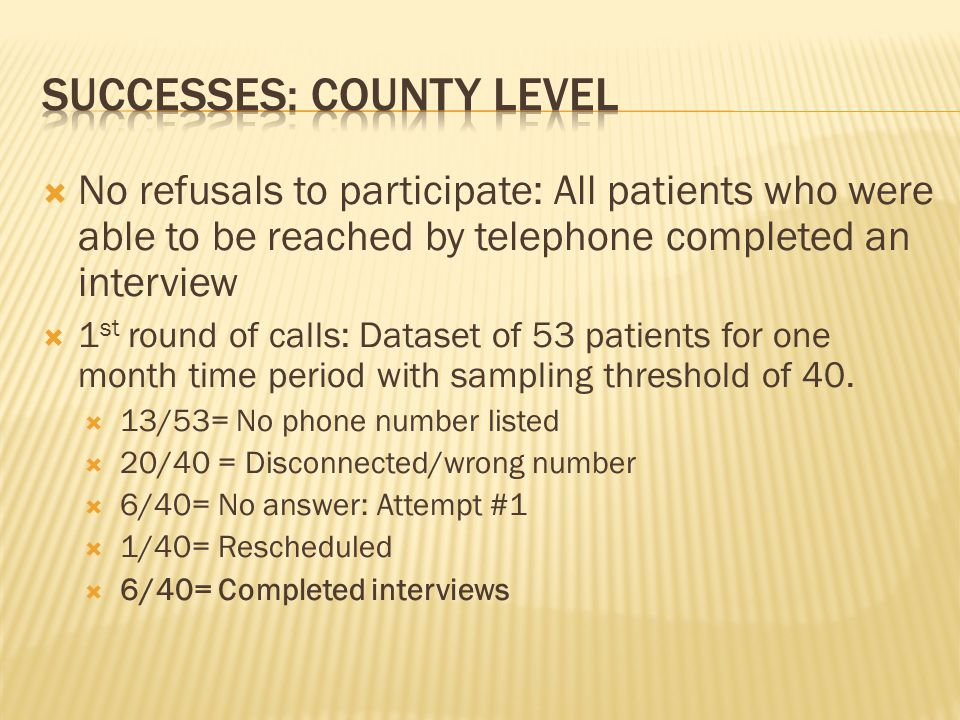 No refusals to participate: All patients who were able to be reached by telephone completed an interview 1 st round of calls: Dataset of 53 patients for one month time period with sampling threshold of 40.