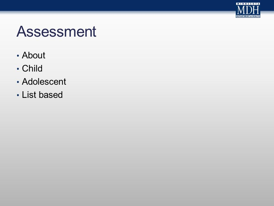 Assessment About Child Adolescent List based
