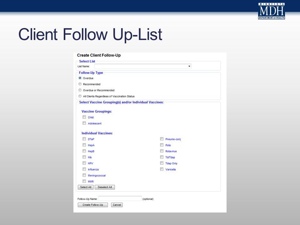 Client Follow Up-List