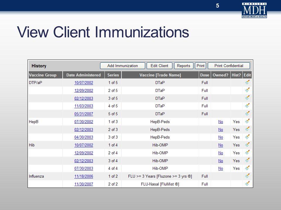View Client Immunizations 5