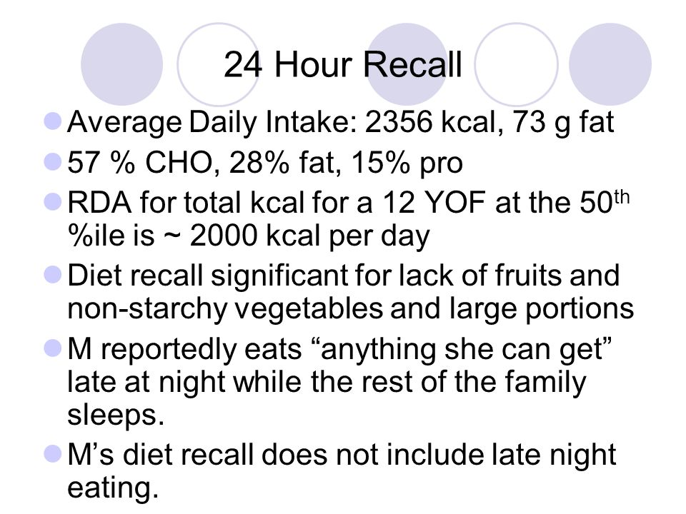 24 Hour Recall Average Daily Intake: 2356 kcal, 73 g fat 57 % CHO, 28% fat, 15% pro RDA for total kcal for a 12 YOF at the 50 th %ile is ~ 2000 kcal p