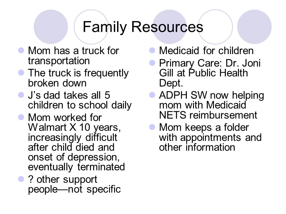 Family Resources Mom has a truck for transportation The truck is frequently broken down Js dad takes all 5 children to school daily Mom worked for Wal