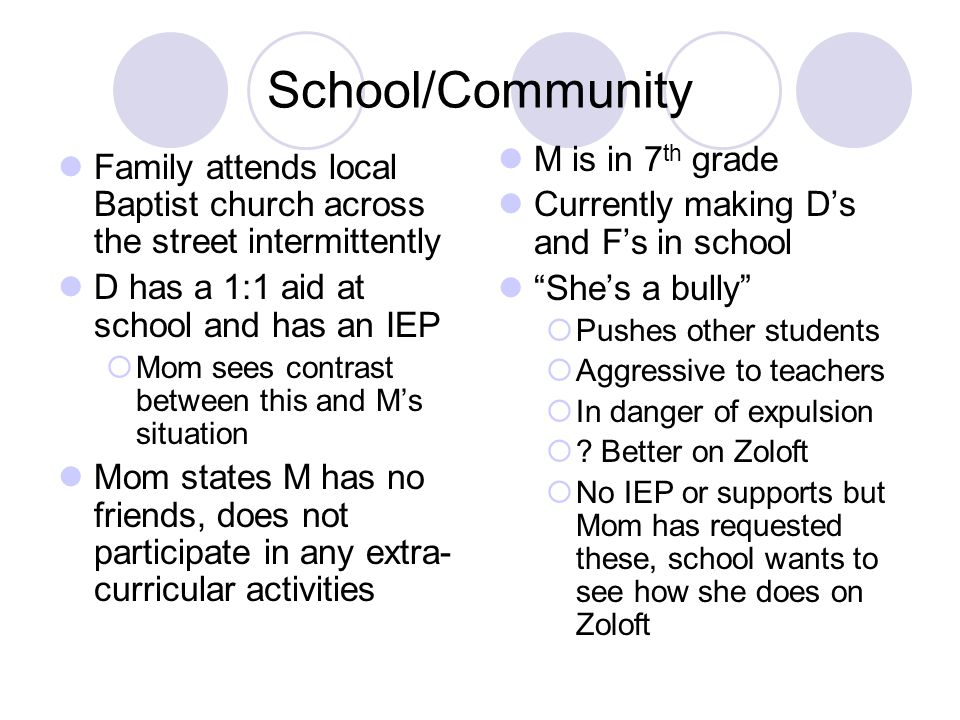 School/Community Family attends local Baptist church across the street intermittently D has a 1:1 aid at school and has an IEP Mom sees contrast betwe